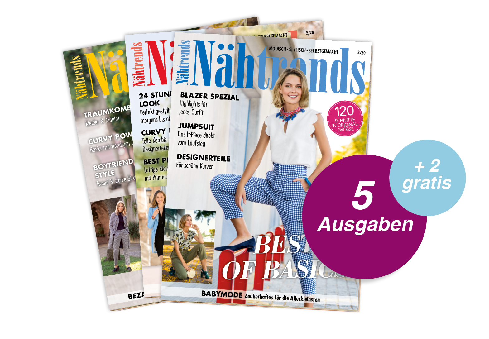 Nähtrends - 5 Ausgaben Schnupperabo + 2 Ausgaben gratis