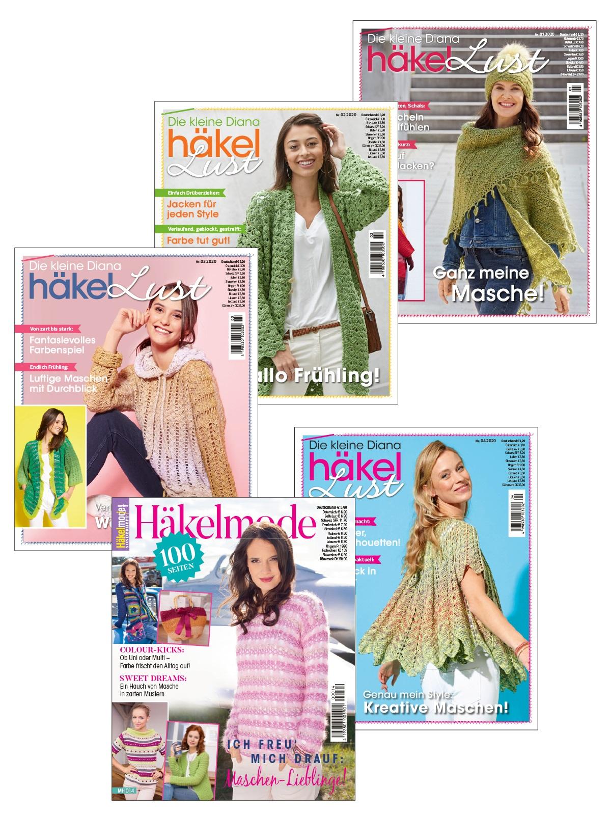 5 Zeitschriften statt 18,70 € nur 9,35 € - 4 Ausgaben von Die kleine Diana und Meine Häkelmode Sonderheft MH 014