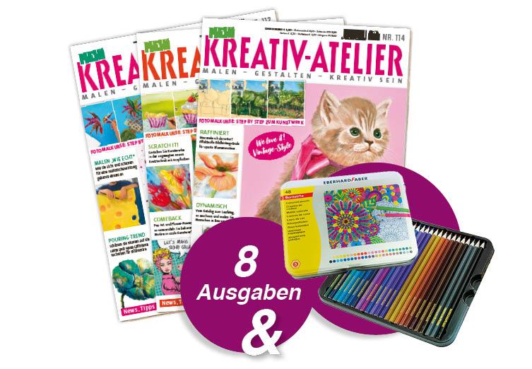 Mein Kreativ-Atelier - Jahresabo + Eberhard Faber Buntstifte-Set