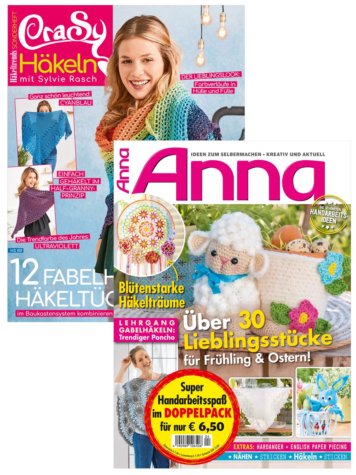 2 Zeitschriften: Anna Nr. 4/2019 und Häkeltrends CraSy Tücher (HS001)