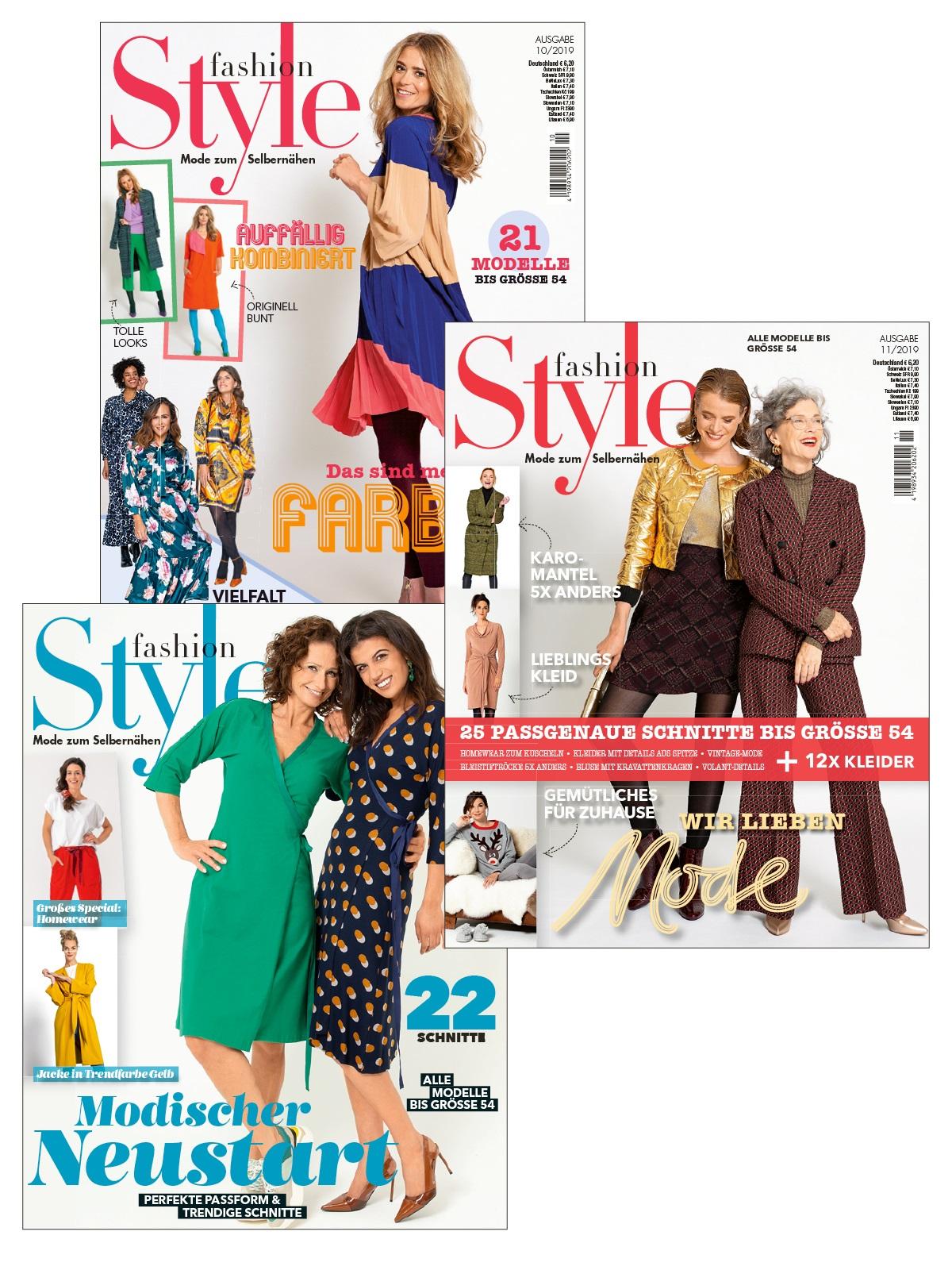 3 Zeitschriften statt 18,60 € nur 9,30 € -  Fashion Style Nr. 10/2019, 11/2019 und 1/2020