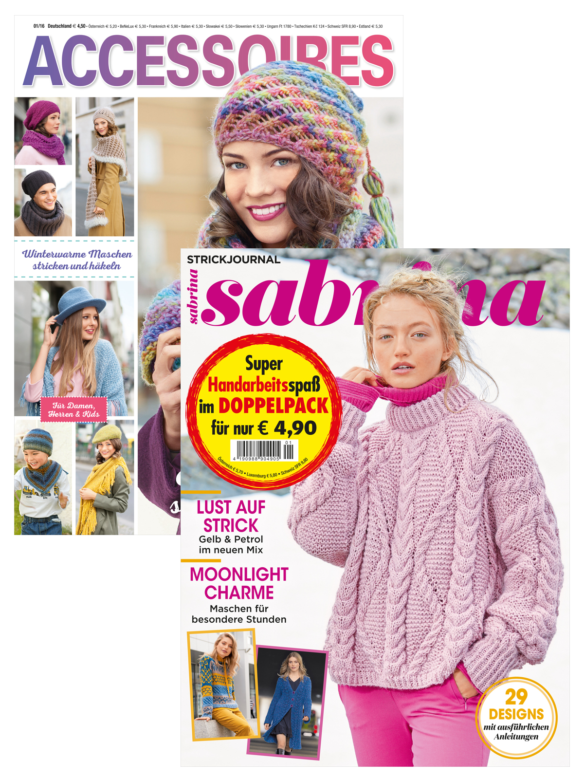 2 Zeitschriften: Sabrina Nr. 1/2020 und Accessoires 1/2016 (Mützen & Tücher)