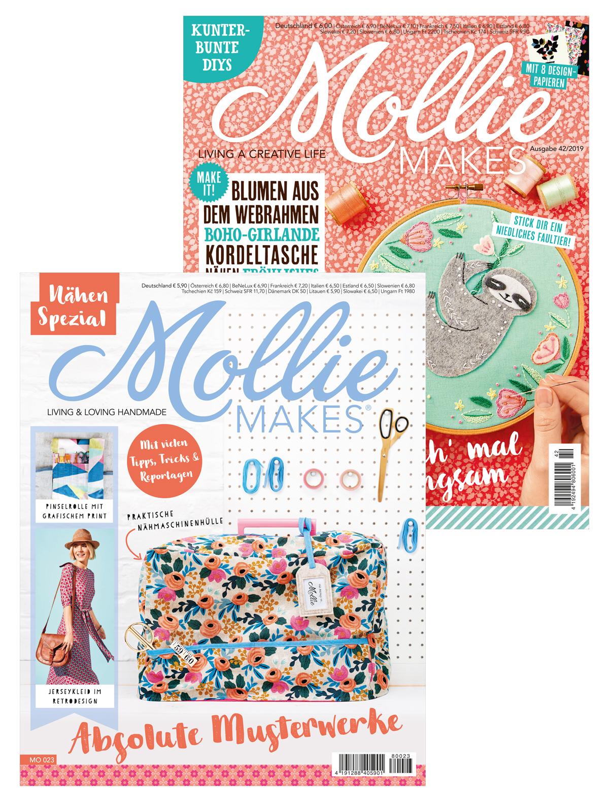 Zwei Zeitschriften im Sparpaket: Mollie Makes Nr. 42/2019 und Mollie Makes Spezial Nähen MO 023