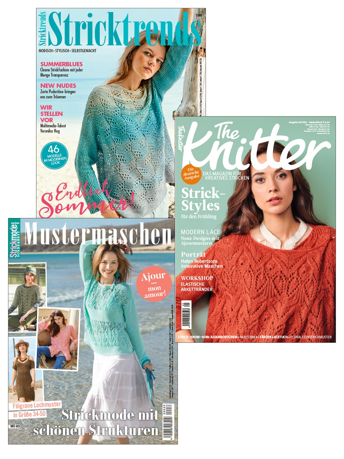 3 Zeitschriften statt 15,60 € nur 7,80 € - Stricktrends 02/2020, The Knitter 45/2020 und Meine Strickmode MS 033