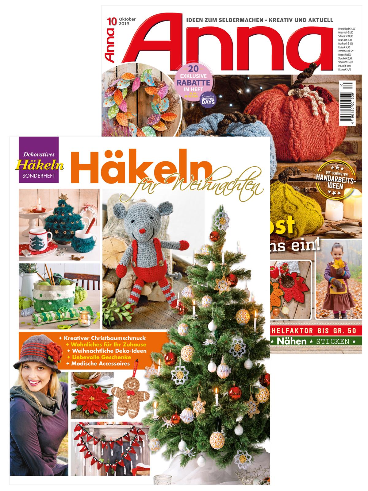 """2 Zeitschriften: Anna Nr. 10/2019 und DE 424 """"Häkeln für Weihnachten"""""""