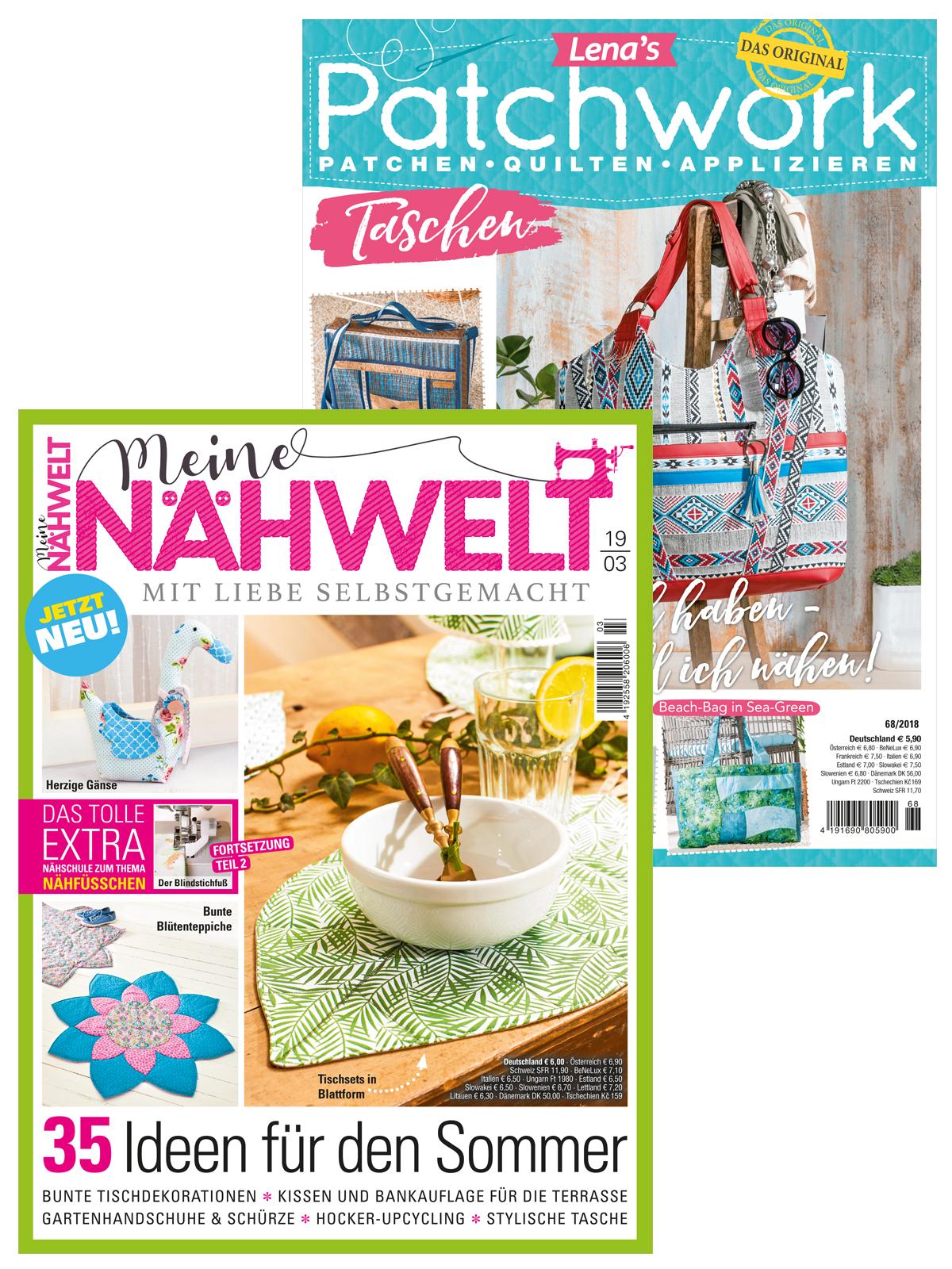 Zwei Zeitschriften im Sparpaket: Meine Nähwelt Nr. 03/2019 und Lenas Patchwork Nr. 68/2018