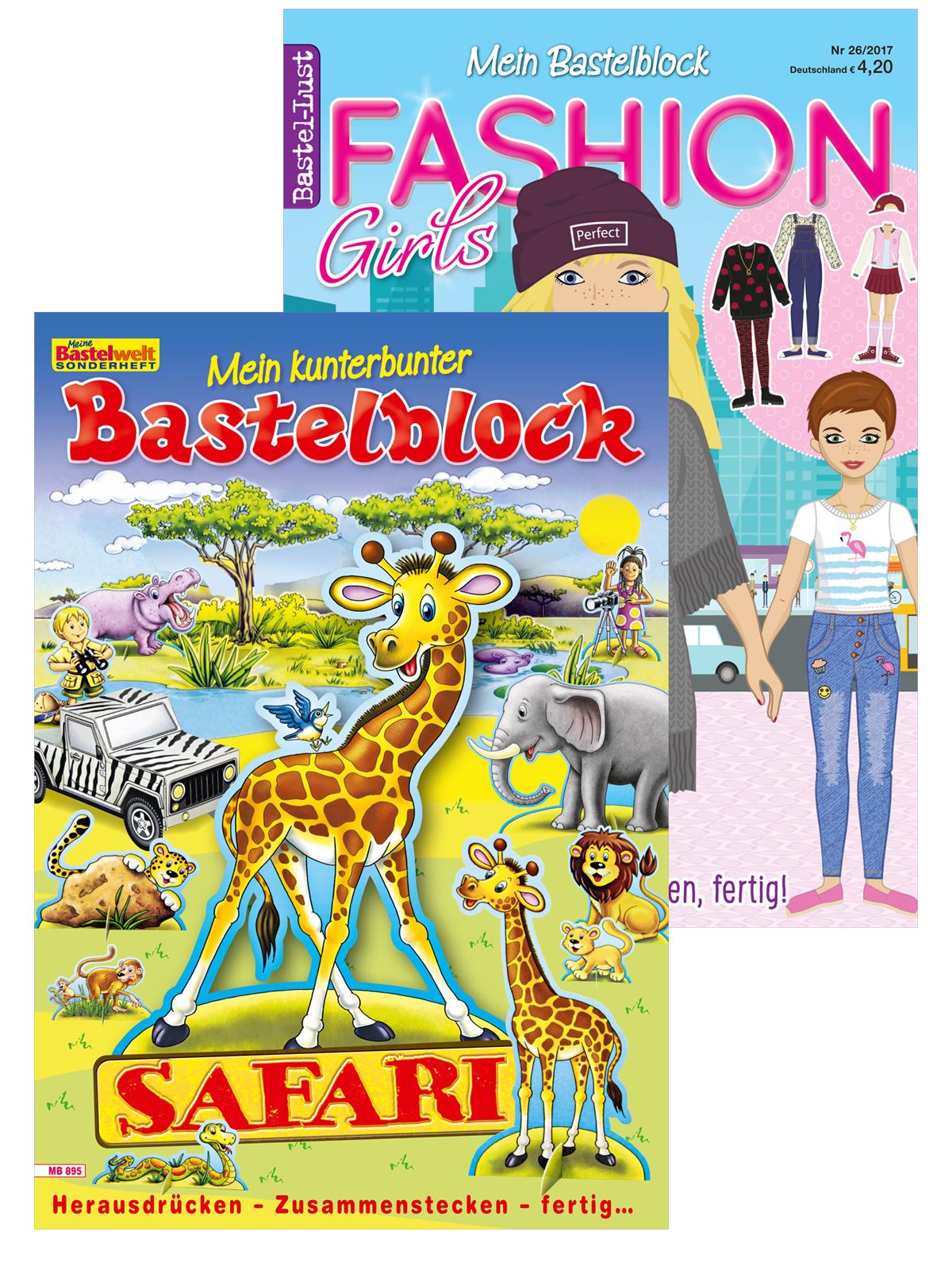 Zwei Bastelblöcke im Set: Safari und Anziehpuppen