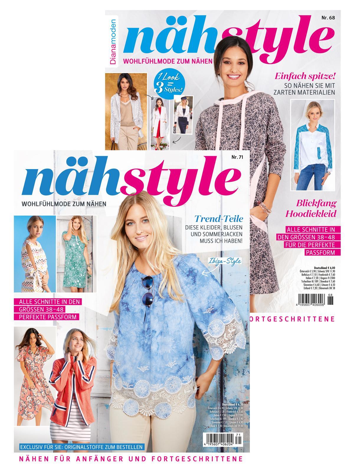 Zwei Zeitschriften im supergünstigen Sparpaket! Näh-Style Nr. 71/2019 und Nr. 68/2018