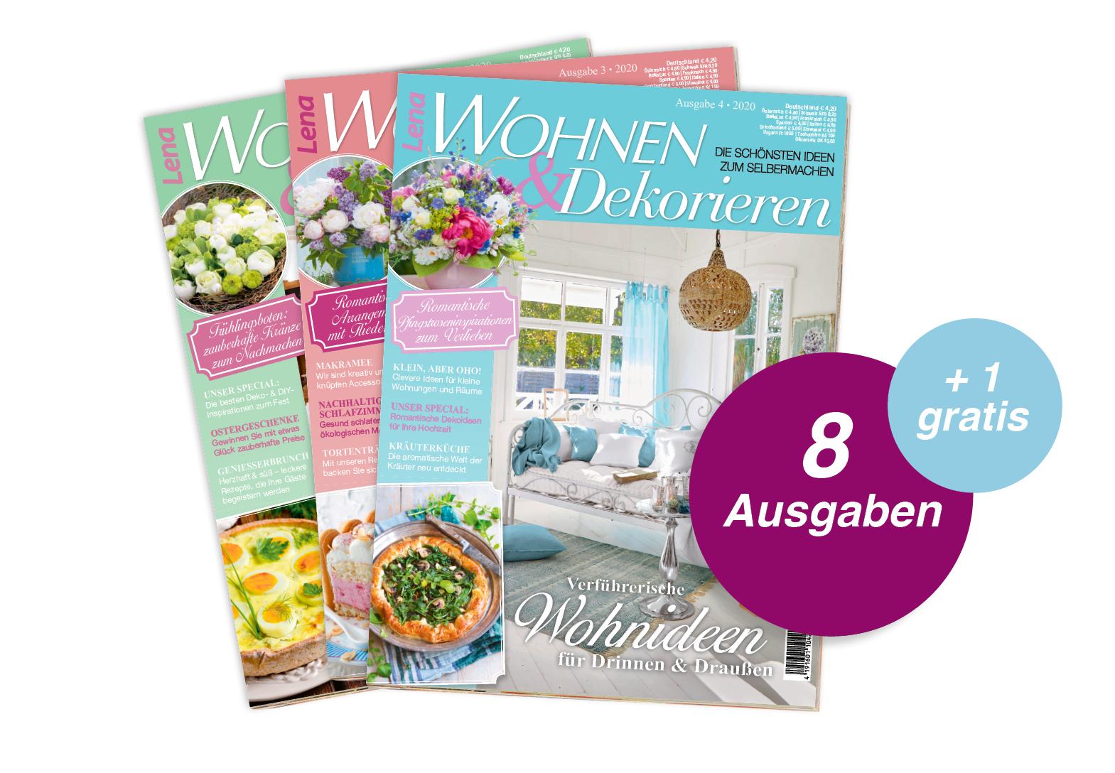 Lena Wohnen & Dekorieren - Jahresabo + 1 Ausgabe gratis