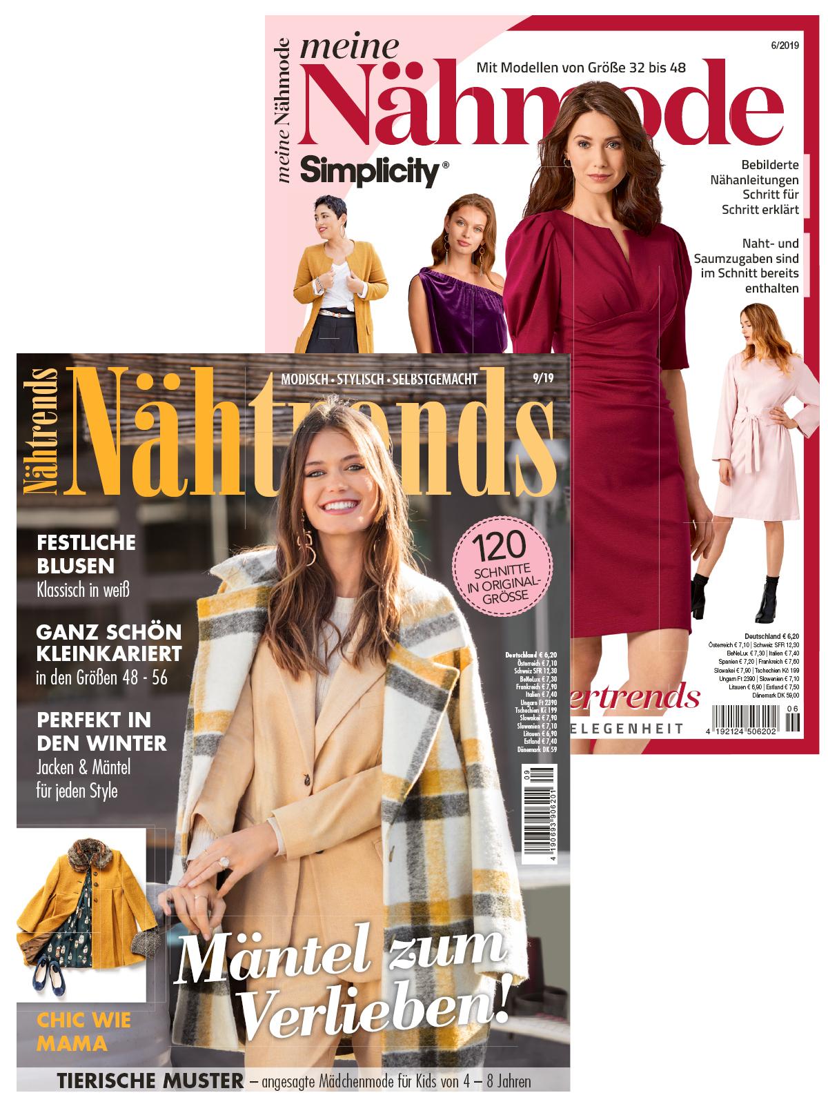 """Zwei Zeitschriften im Sparpaket """" Tolle Wintermode zum Selbernähen """" - NÄH 6/19 + NT 9/19"""