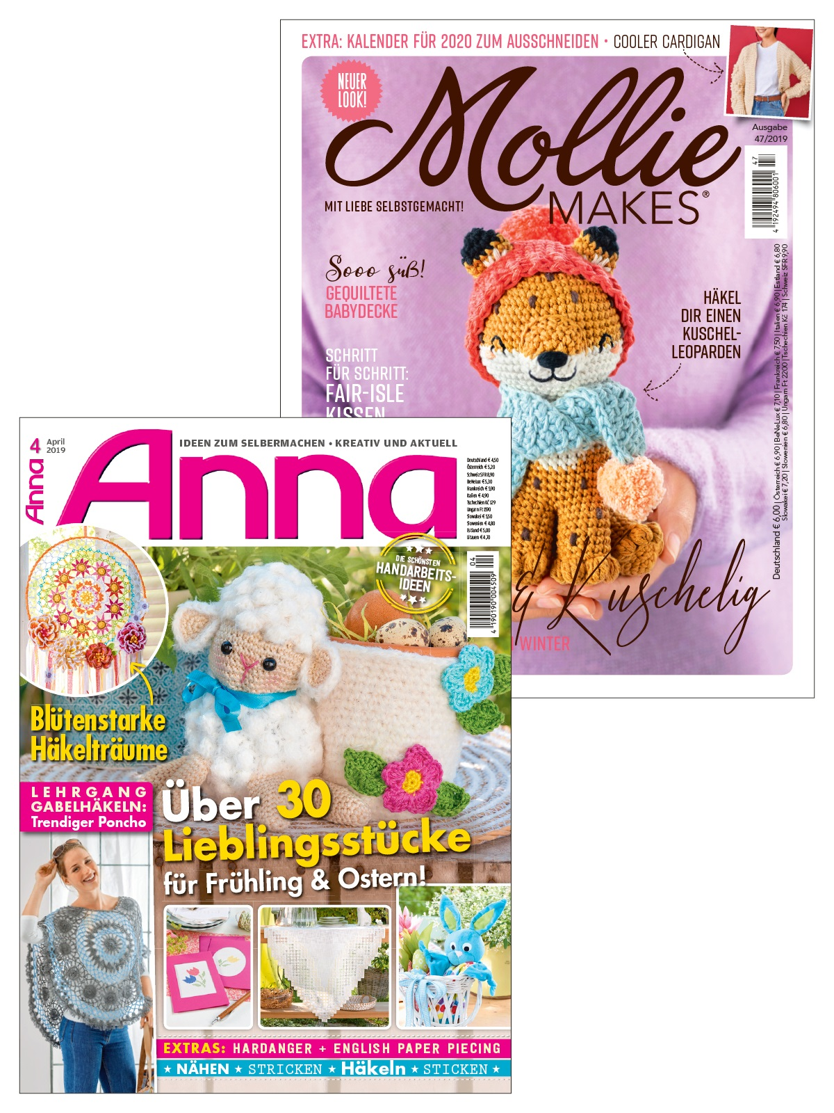"""2 Zeitschriften statt Euro 10,50 nur Euro 5,25 """" Anna Nr. 4/2019 + Mollie Makes Nr. 47/2019"""""""