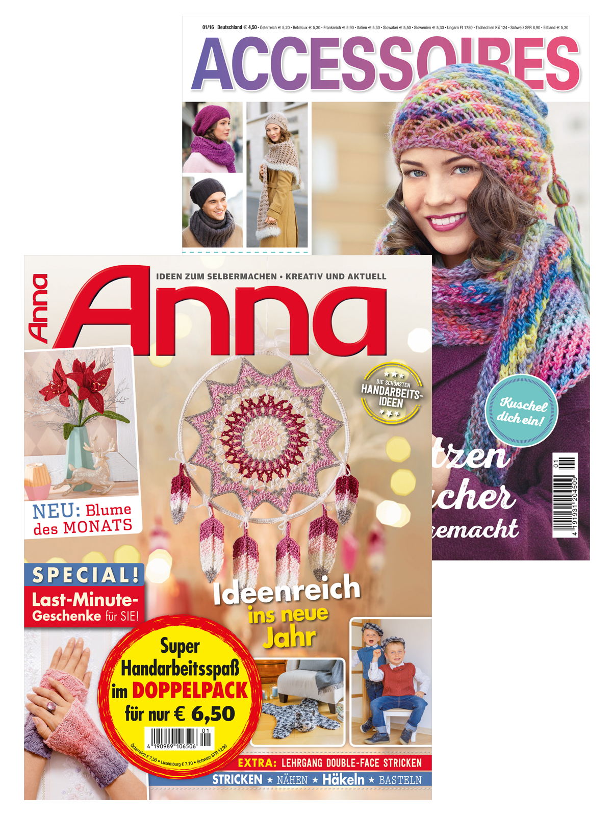 2 Zeitschriften: Anna Nr. 1/2020 und Accessoires 1/2016 (Mützen & Tücher)