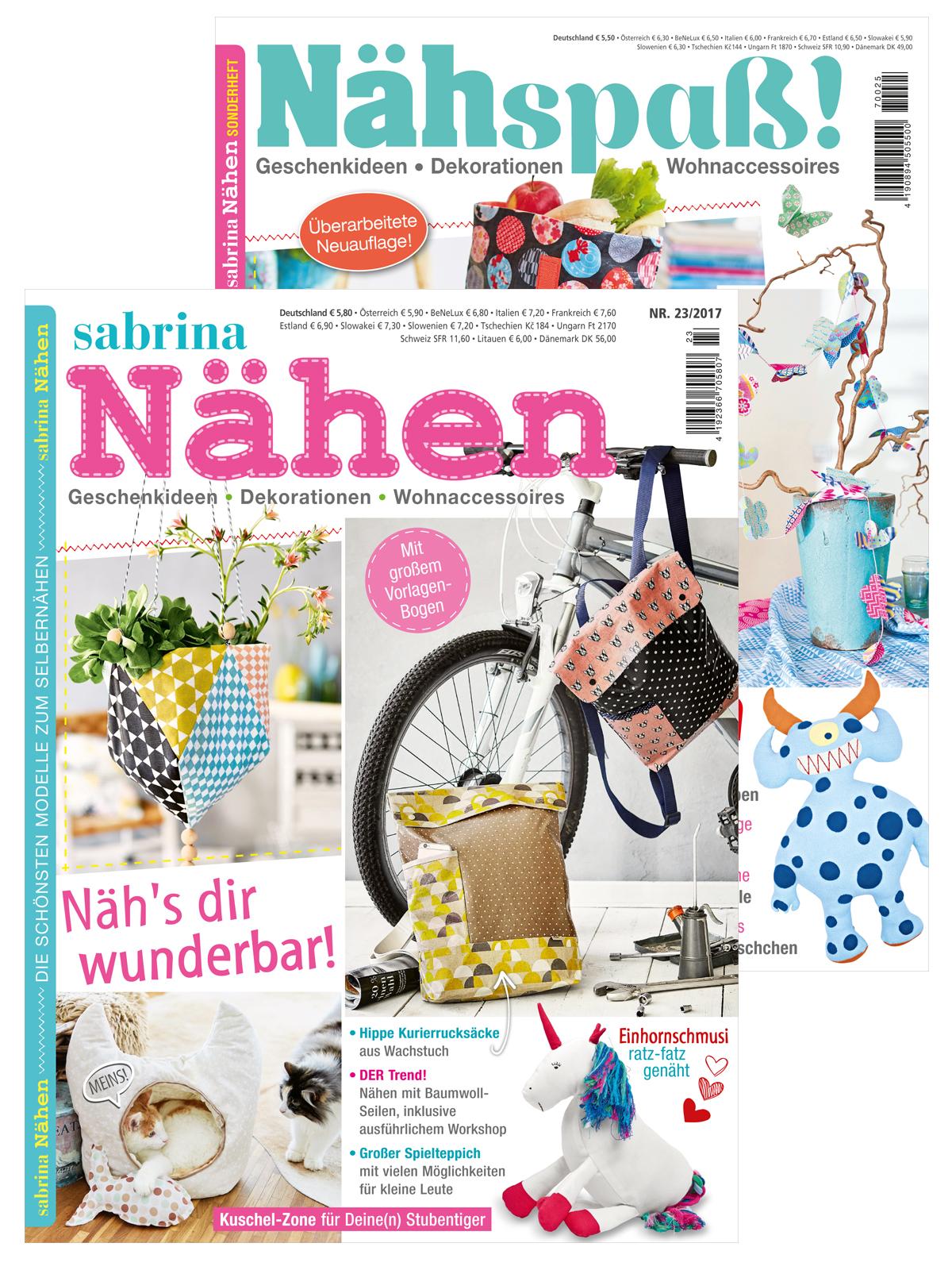 Zwei Zeitschriften: Homedeko nähen mit Sabrina Wohnen