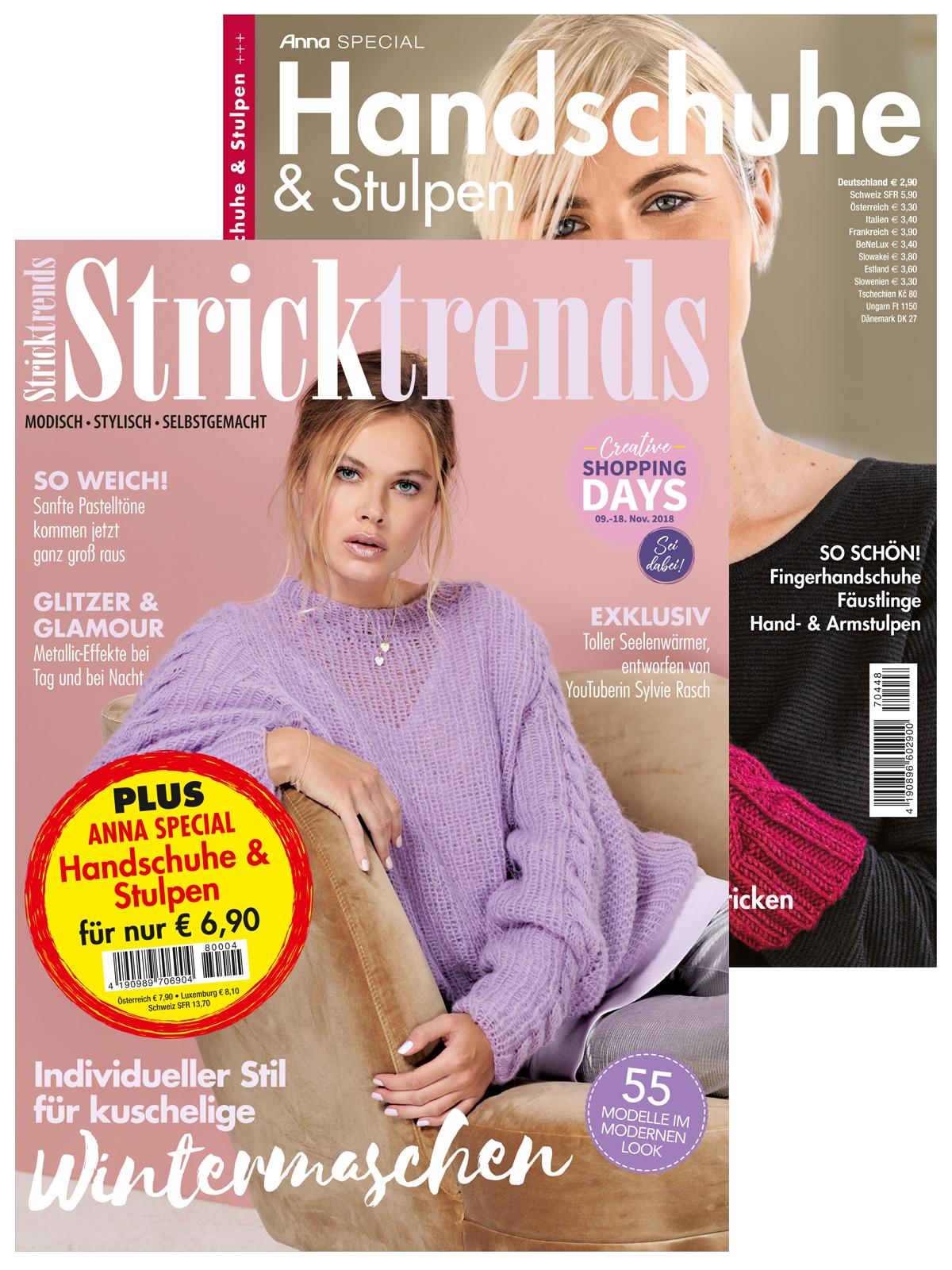 Zwei Zeitschriften: Stricktrends Nr. 04/2018 und Anna Special Handschuhe&Stulpen
