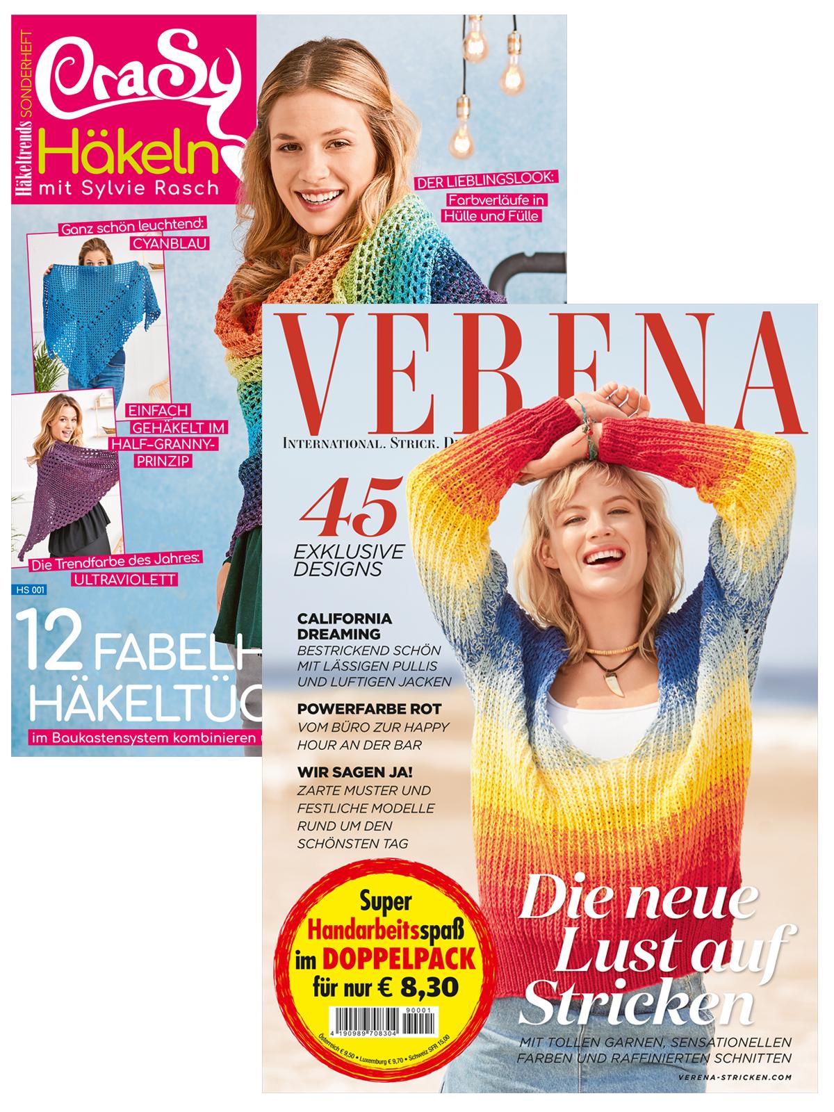 Zwei Zeitschriften - Verena Nr. 2/2019 und CraSy Häkeltücher (HS001)