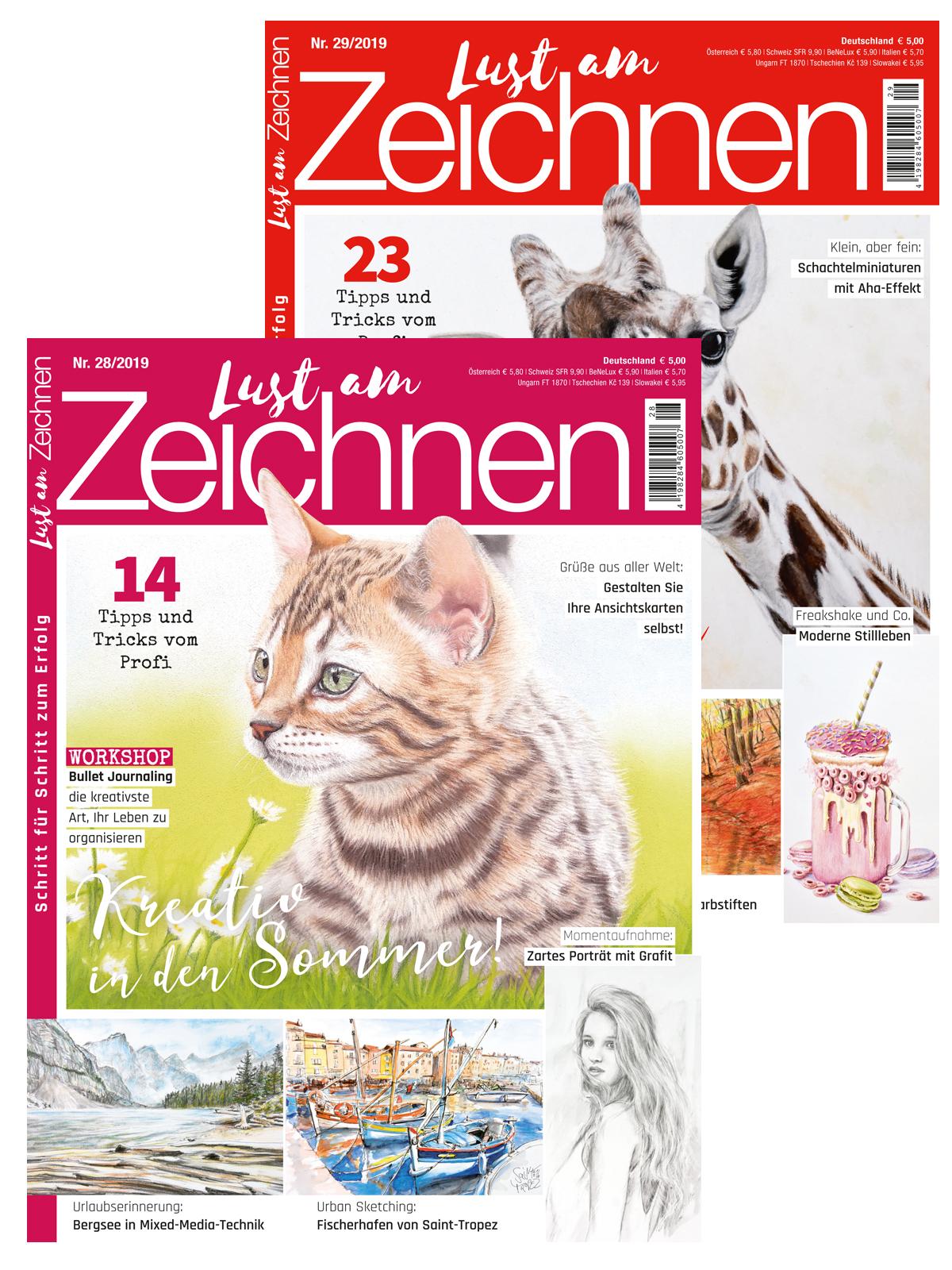 Zwei Zeitschriften im Sparpaket! Lust am Zeichnen Nr. 28 und Nr. 29 / 2019