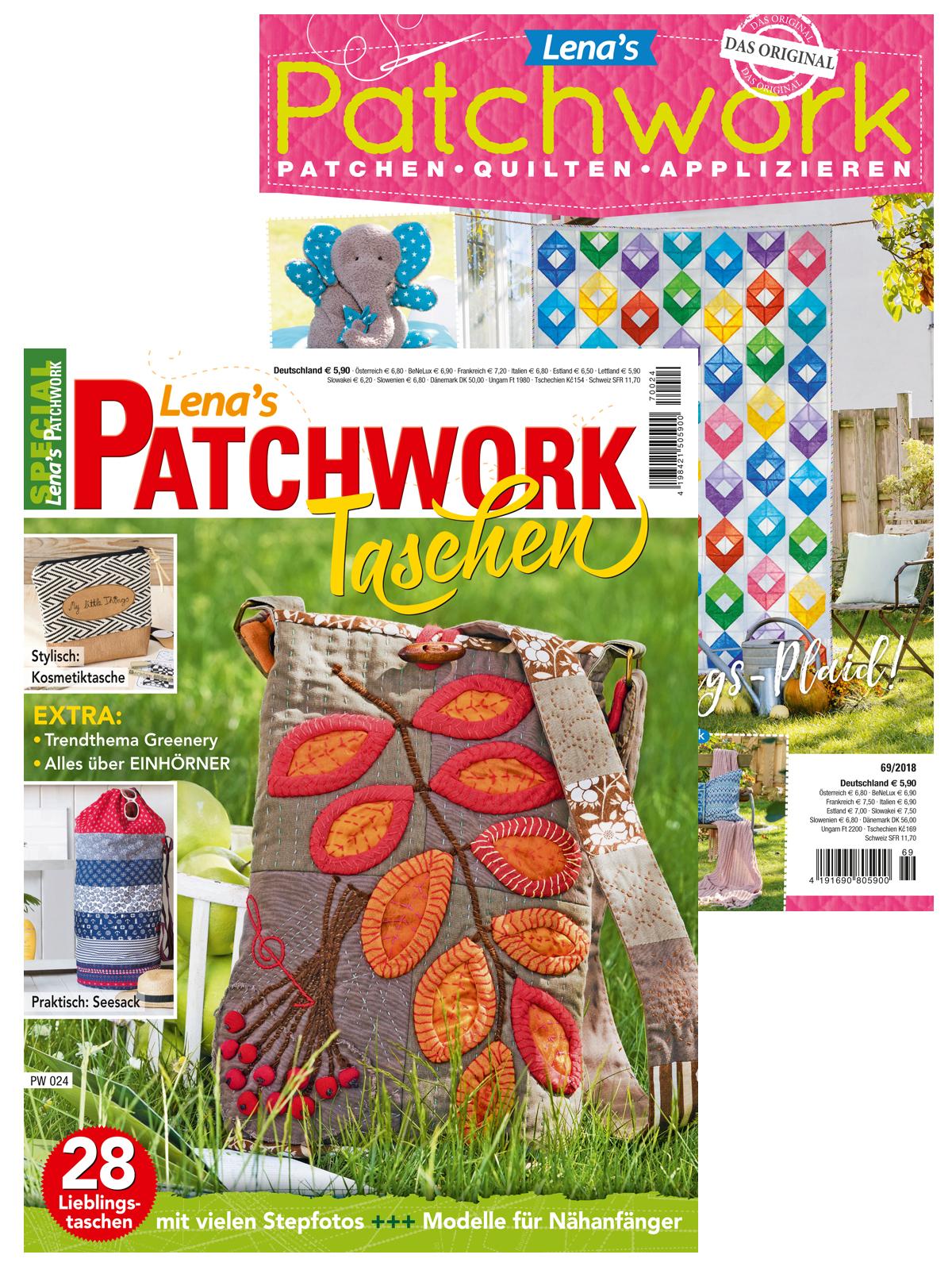 Zwei Zeitschriften im supergünstigen Sparpaket! PW 024  Taschen und Lenas Patchwork Nr. 69/2018
