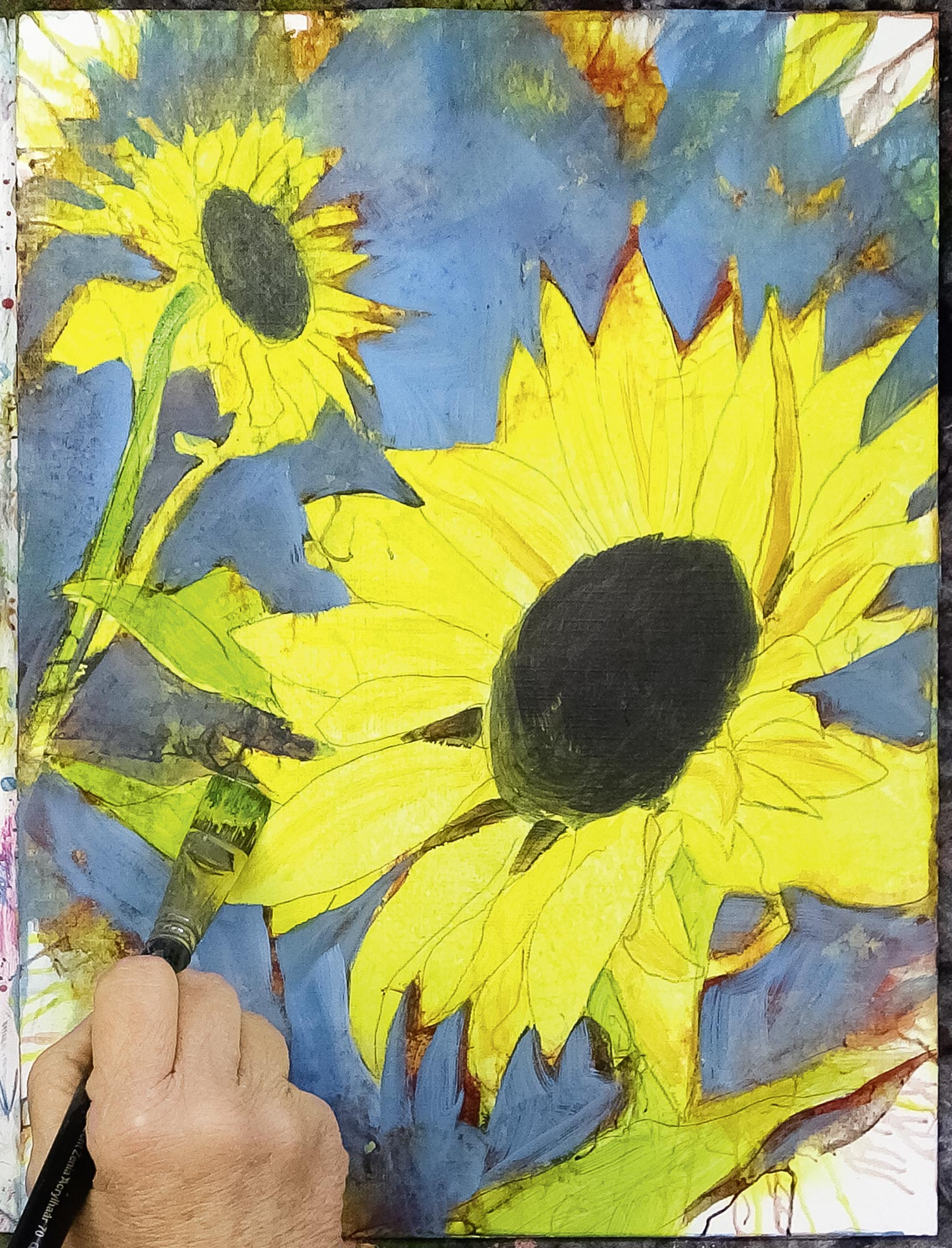 """Live-Malschule """"Sonnenblume"""" mit Anja Gensert"""