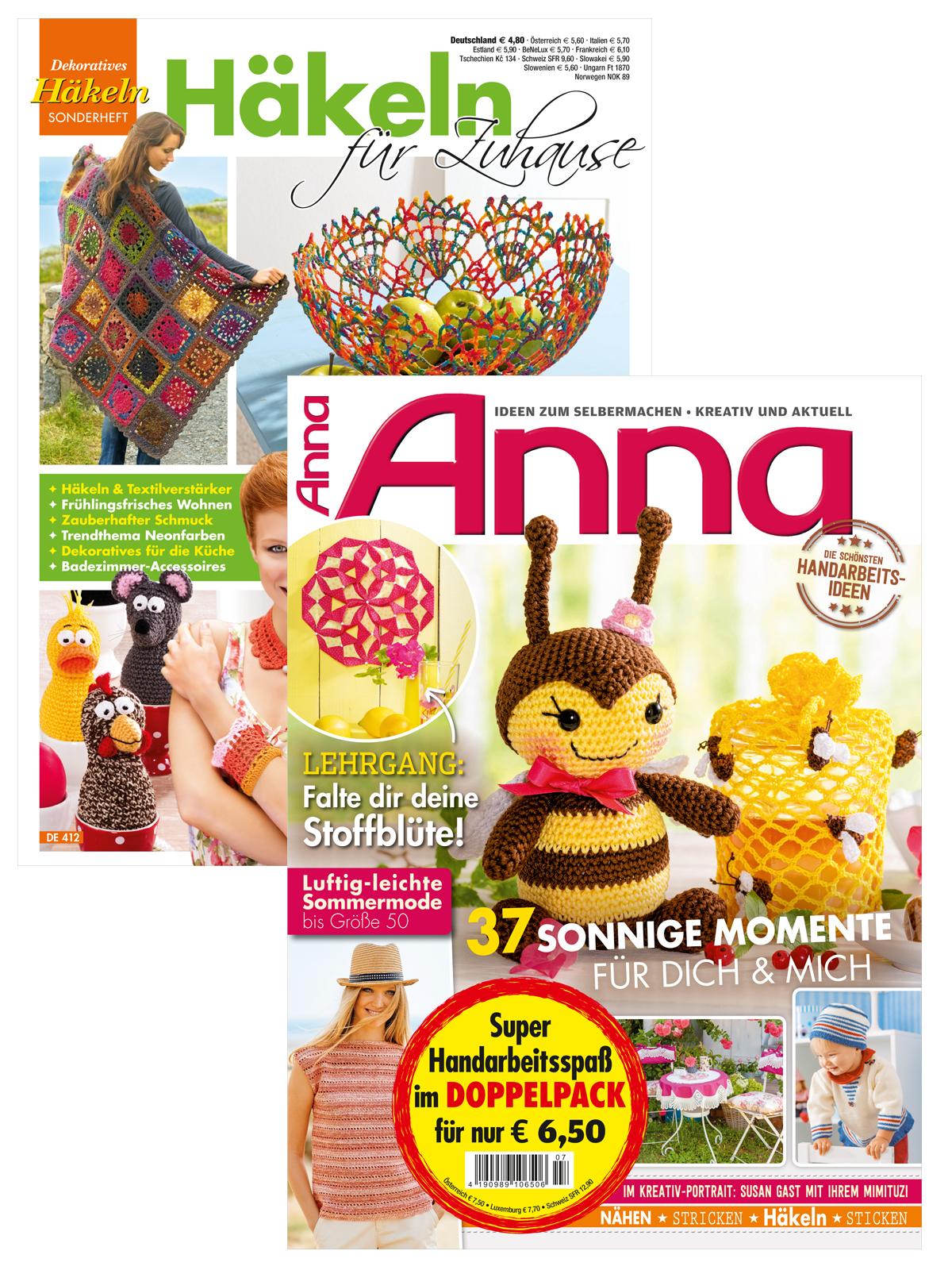 """2 Zeitschriften: Anna Nr. 7/2019 und DE 412 """"Häkeln für Zuhause"""""""
