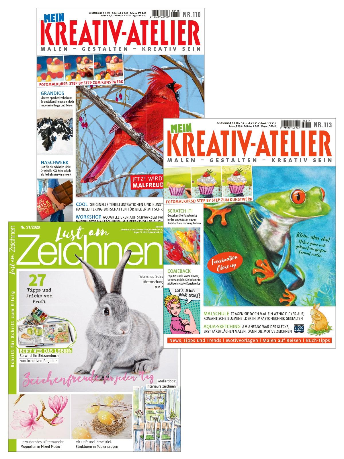 """Bundle: 2 Ausgaben Mein Kreativ-Atelier und 1 Ausgabe Lust am Zeichnen - """" Kreativ - Freuden für Künstler """""""