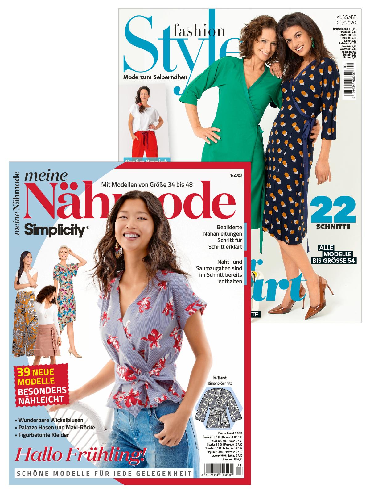 """Zwei Zeitschriften im Sparpaket """"Tolle Nähmode"""" - Meine Nähmode 1/2020 + fashionStyle 1/2020"""
