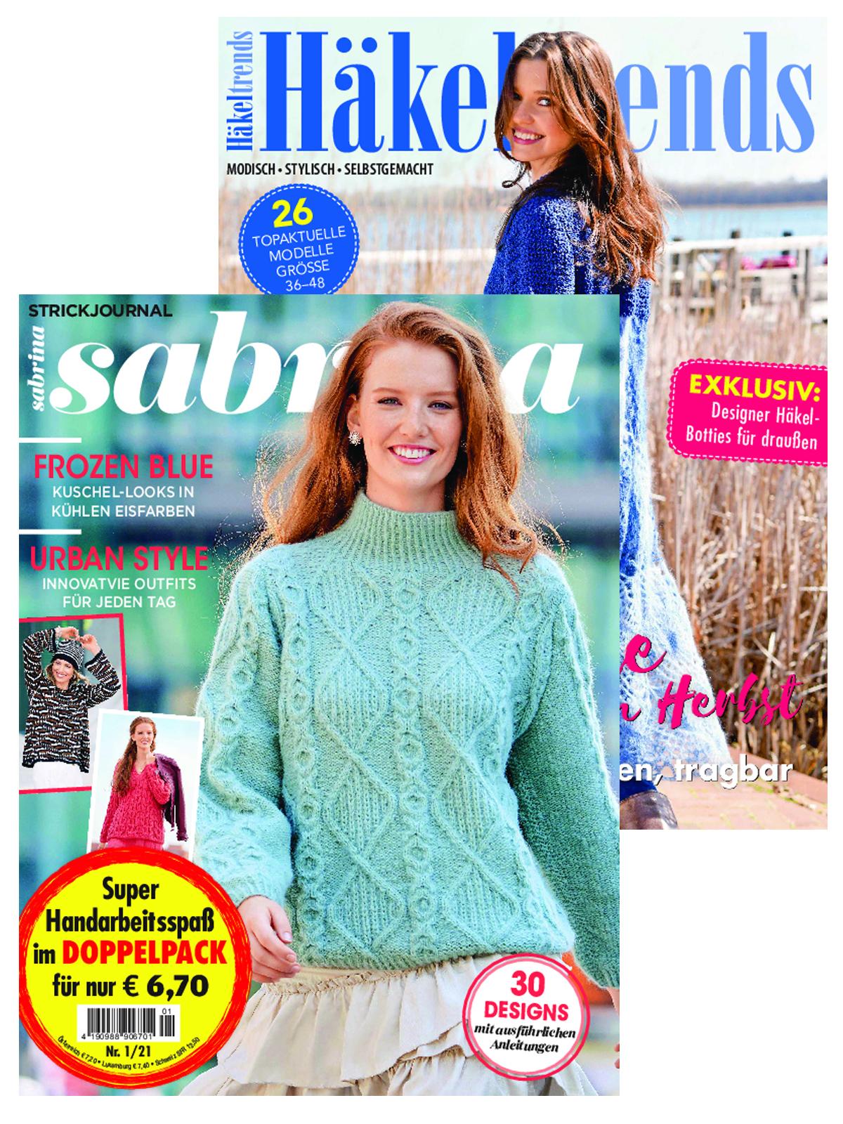 """2 Zeitschriften: Sabrina Nr. 1/2021 und 110069/19039 """"Häkeltrends"""""""