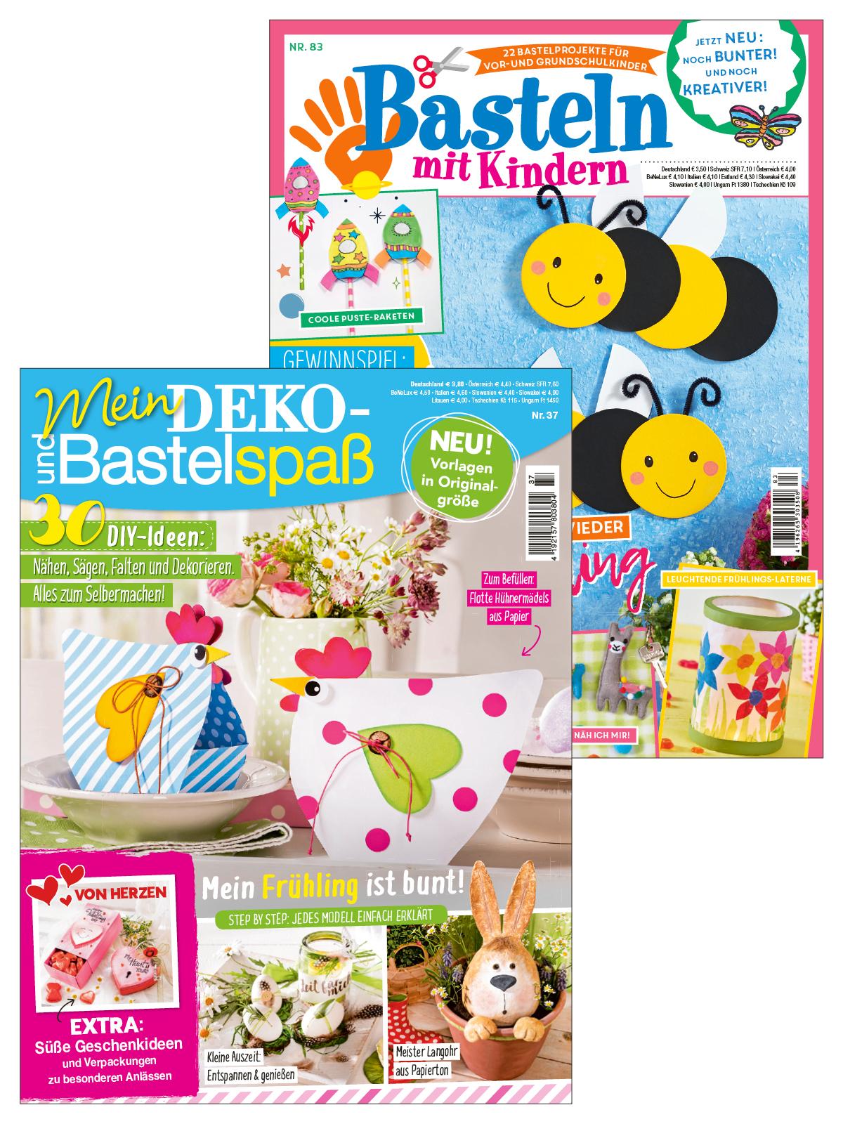 """Zwei Zeitschriften im Sparpaket """"Mein Deko- und Bastelspaß"""" 37/20 + """"Basteln mit Kindern"""" 83/20"""