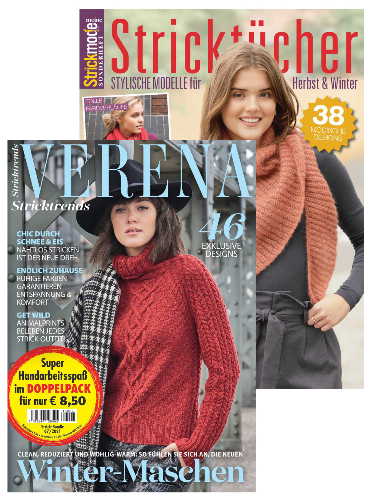 Zwei Zeitschriften - Verena Nr. 4/2021 und  MS 045 Stricktücher