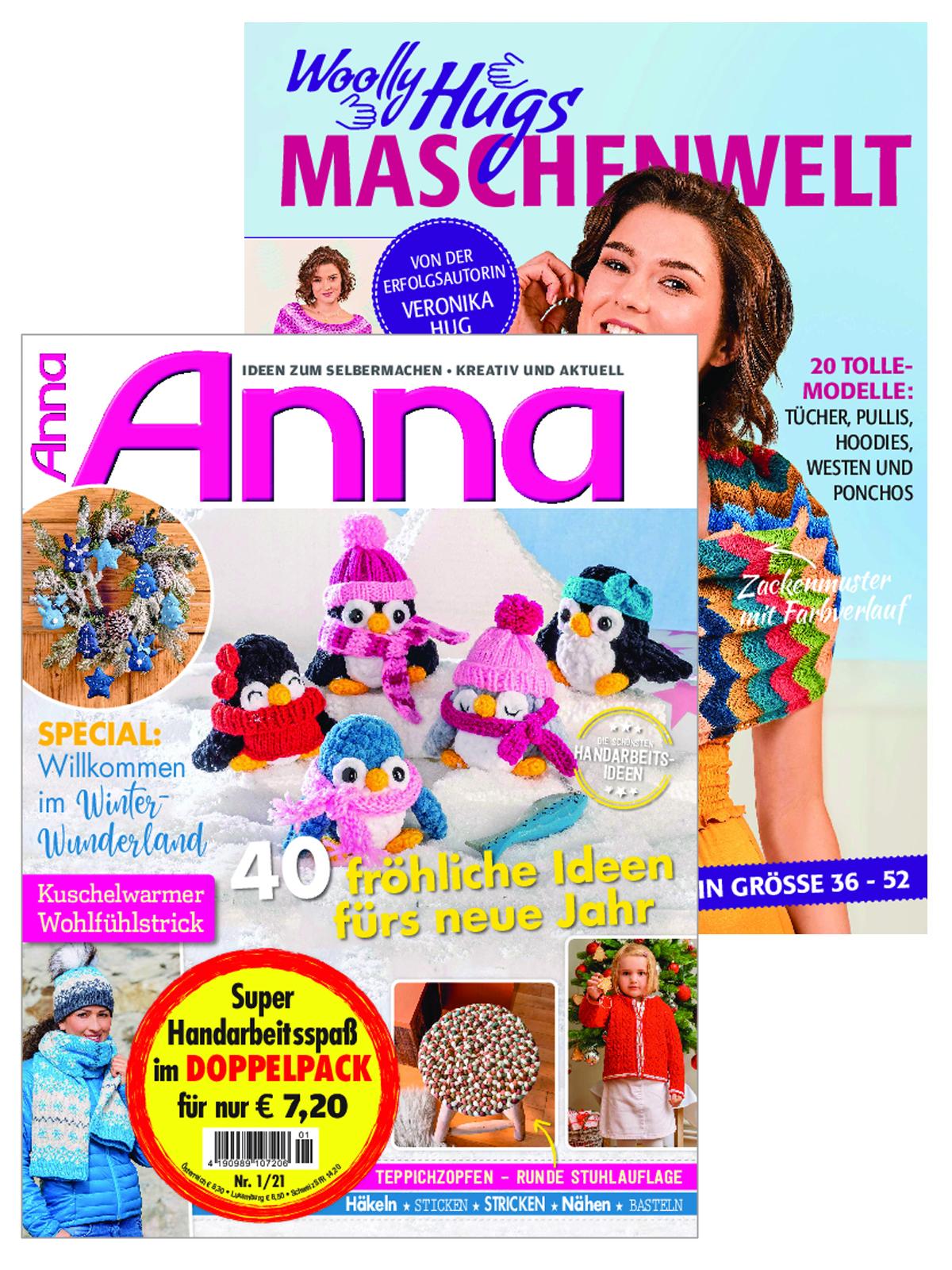 """2 Zeitschriften: Anna Nr. 1/2021 und 120024/19002 """"Woolly Hugs"""""""