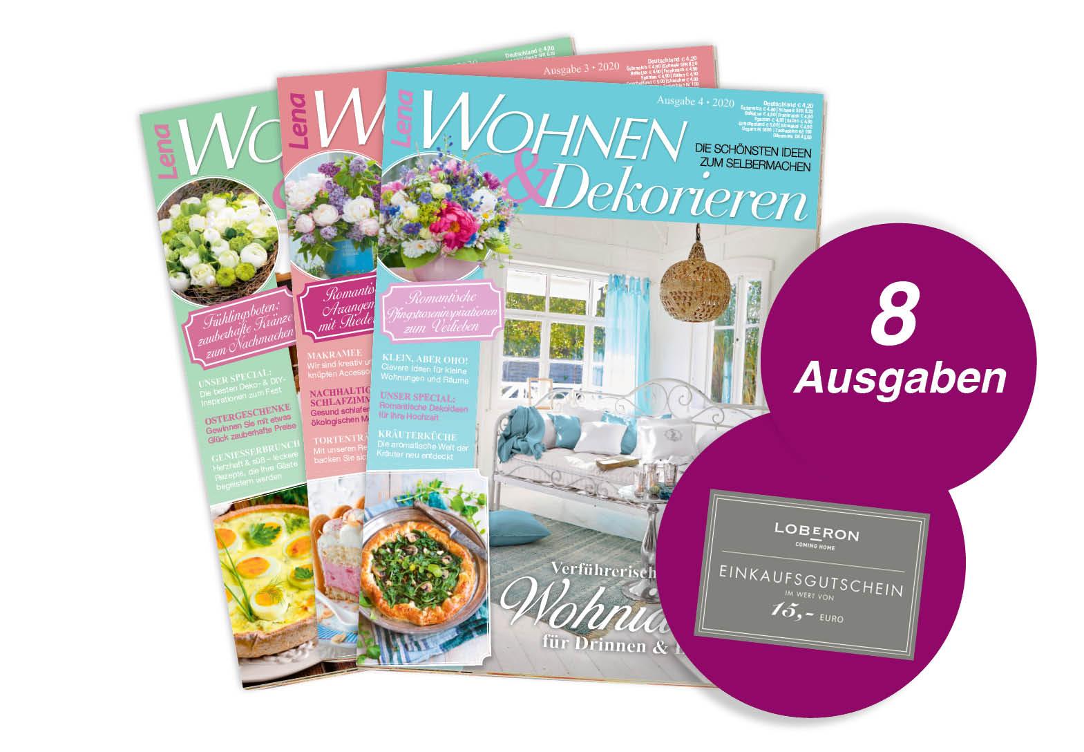 Lena Wohnen & Dekorieren - Jahresabo + 15 Euro Gutschein von Loberon