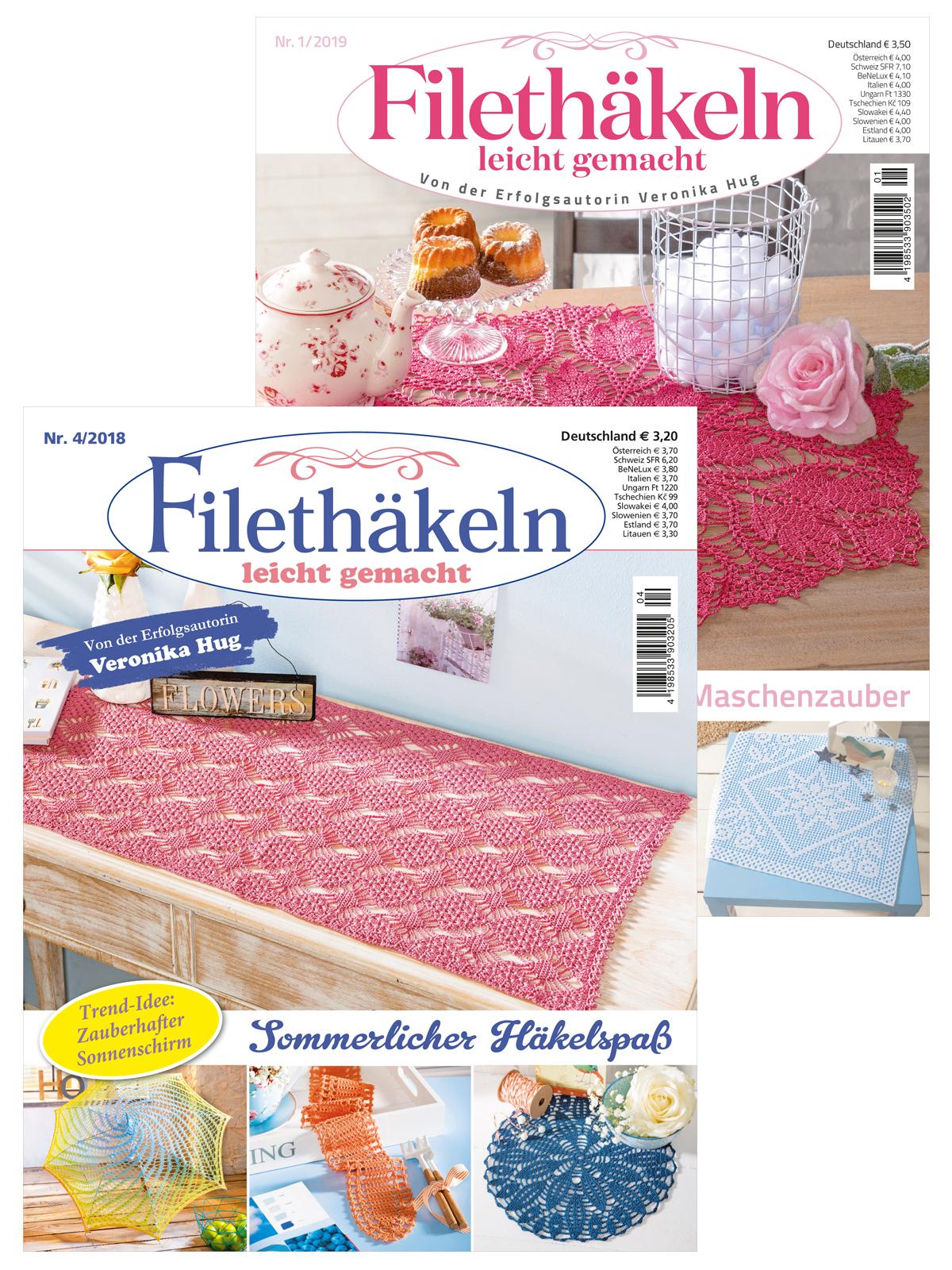 Zwei Zeitschriften im Sparpaket! Filethäkeln Leichtgemacht Nr. 04/2018 und Nr. 01/19