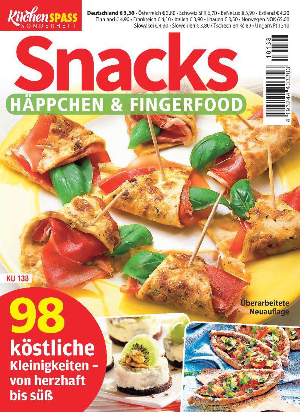 Küchenspaß Sonderheft KU 138 - Snacks, Häppchen & Fingerfood