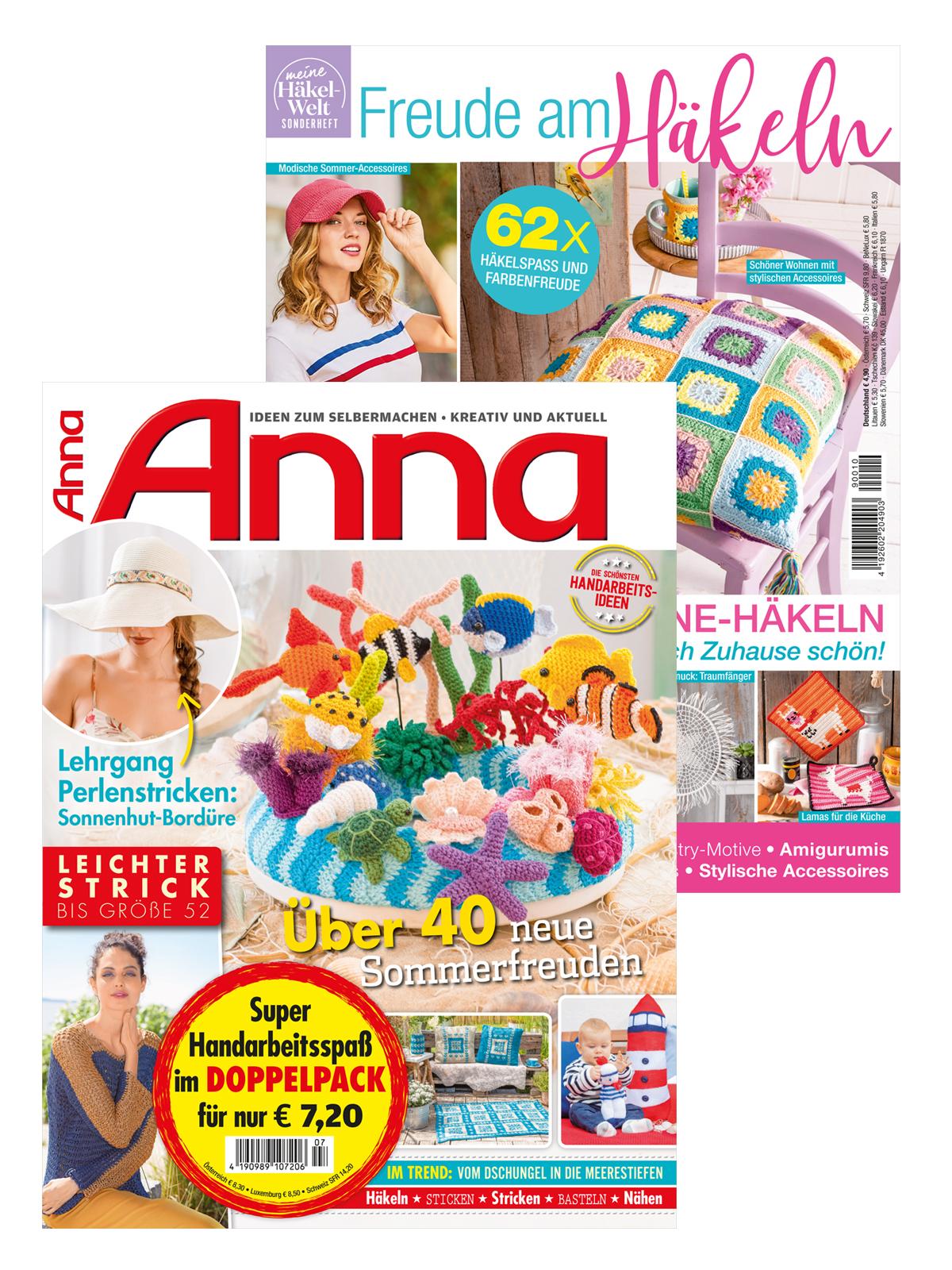 """2 Zeitschriften: Anna Nr. 7/2020 und HÄ 010 """"Freude am Häkeln"""""""