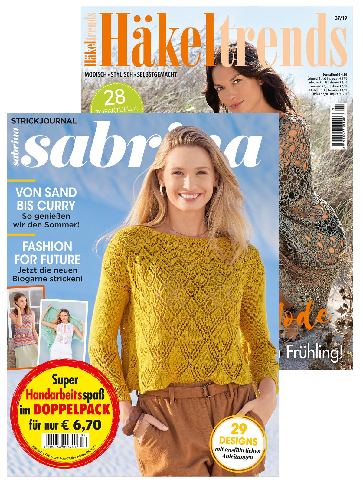 2 Zeitschriften: Sabrina Nr. 07/2020 und Häkeltrends Nr. 37/2019
