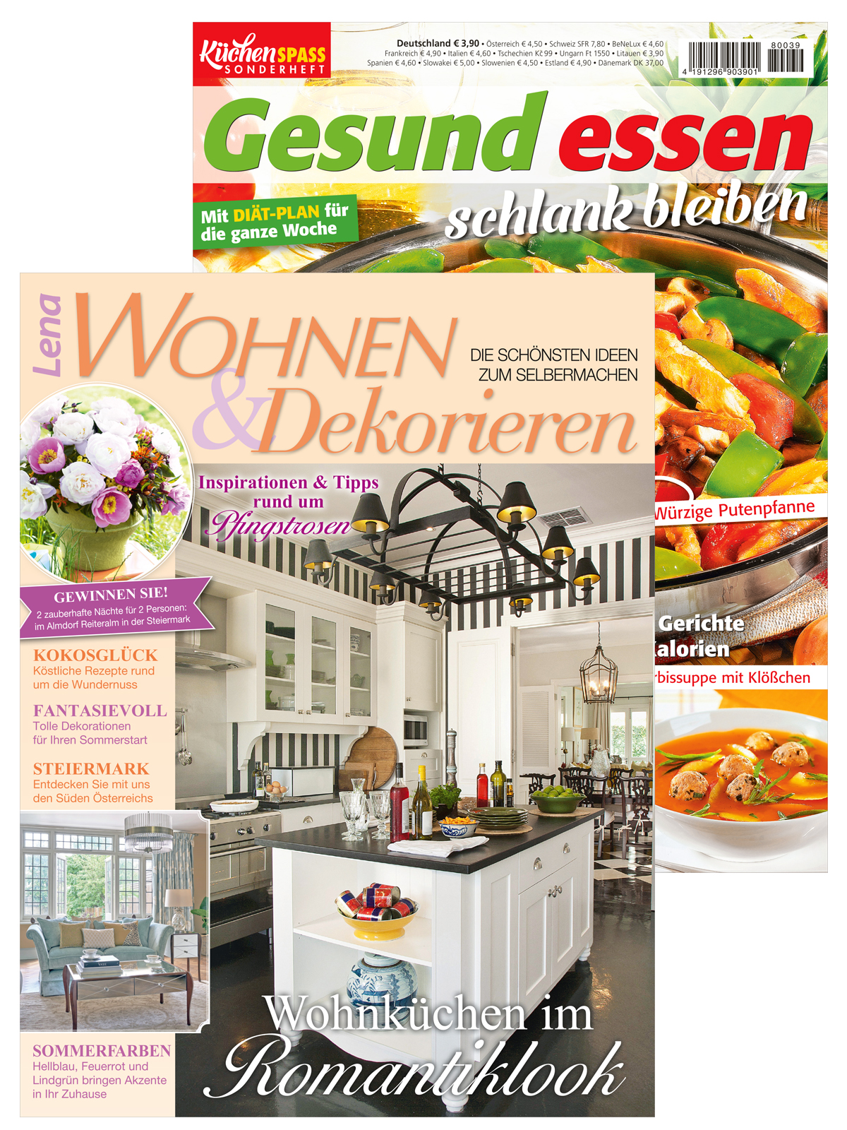 Zwei Zeitschriften: Lena Wohnen & Dekorieren Nr. 3/2018 und Gesund essen - schlank bleiben