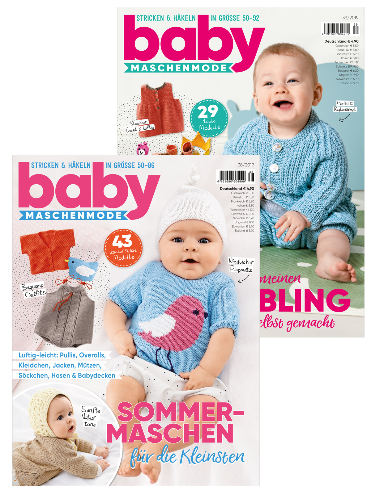 Zwei Zeitschriften im Sparpaket! Babymaschenmode Nr. 38 und Nr. 39/2019